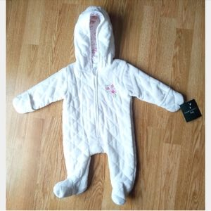 NWT 0-3m Laura Ashley Baby Hooded Coverall